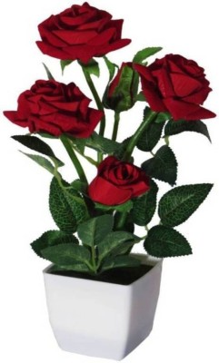 RASHMICREATION RASCR04 Red Rose Artificial Flower with Pot(12 inch, Pack of 1)